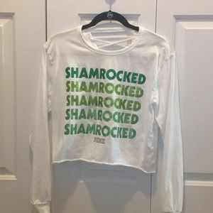 "Shamrocked ""PINK"" lace-up back long sleeve T"